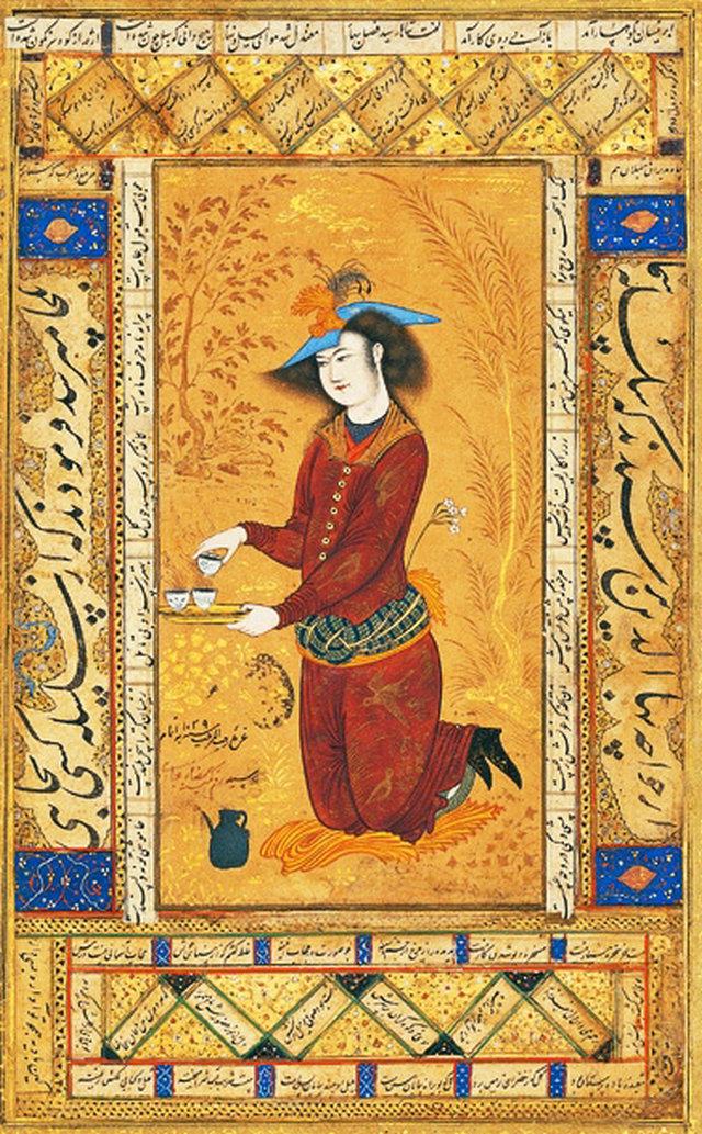 miniatures of Reza Abbasi: Reza Abbasi, Saki, 1609, Golestan Palace, Teheran, Iran.