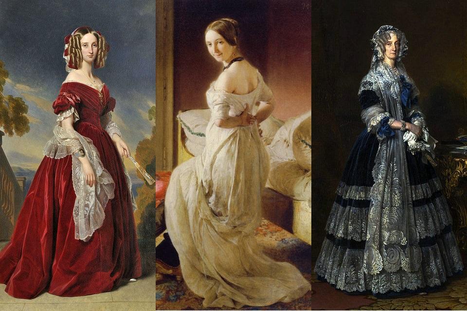 1840年代の女性のビーダーマイヤ...