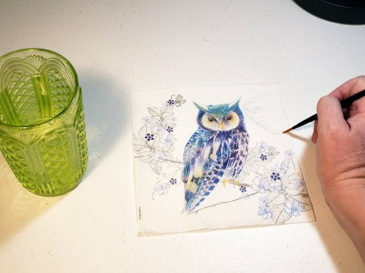 blue and purple owl napkin for napkin decoupage tutorial