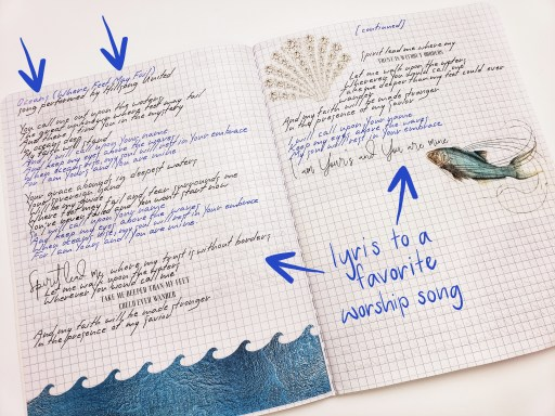 journaling in a notebook