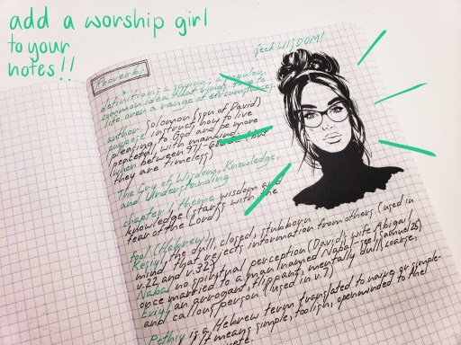 notes and a worship girl