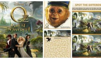 """Actividades gratis de """"Oz el poderoso"""" para niños"""