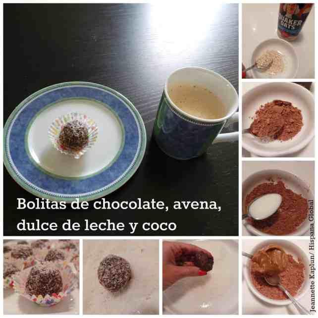 Haz bolitas de chocolate, avena, dulce de leche y coco