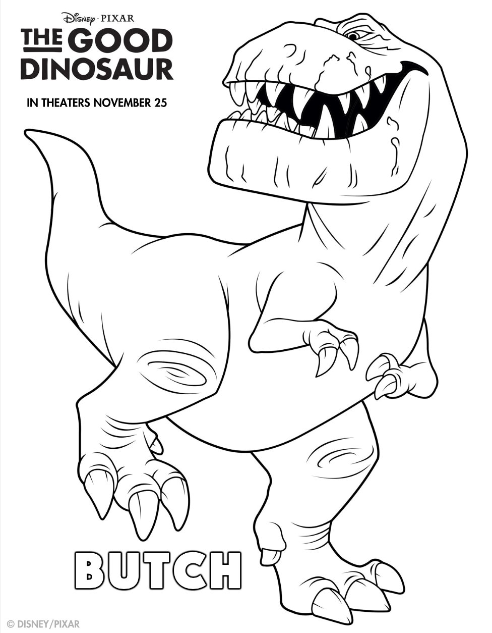 Figuras para colorear gratis de Un Gran Dinosaurio - Hispana Global
