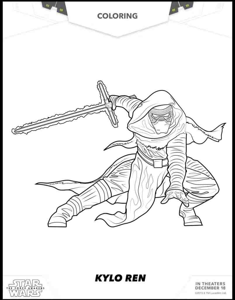 Kylo Ren figura para colorear gratis de Star Wars