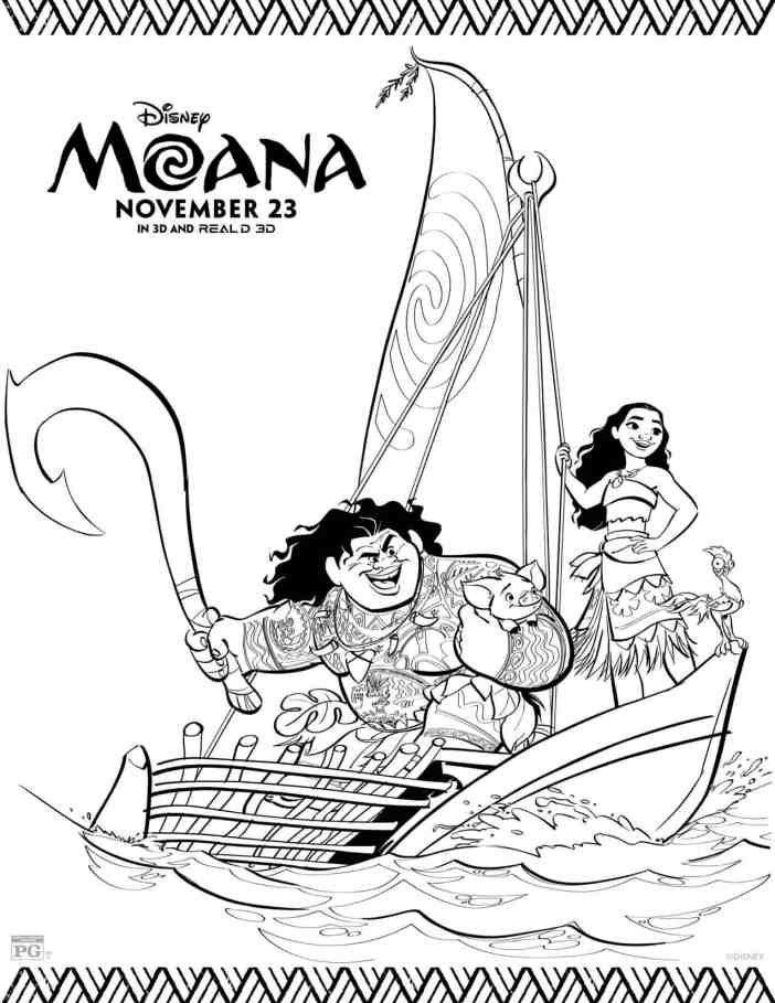 Dibujos para colorear gratis de Moana - Hispana Global