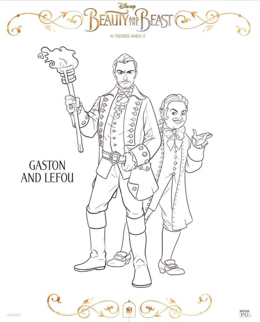 Gatson y leFou dibujos para colorear