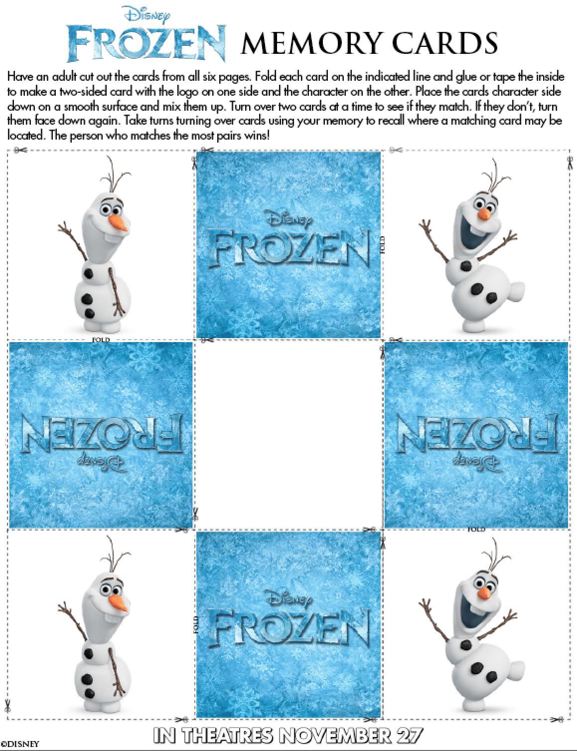 Free Kids Activities From Disney S Frozen
