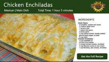 Chicken Enchiladas With Homemade Green Sauce Recipe Card