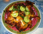 Cuban Achiote Marinated Chickens Stuffed with Chorizo and Mustard Greens recipe