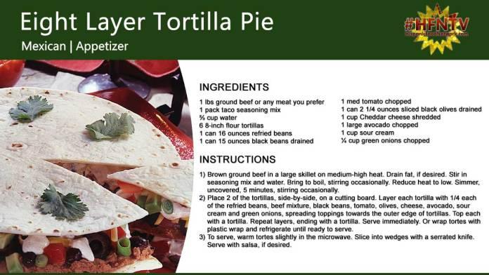 Eight Layer Tortilla Pie Recipe Card