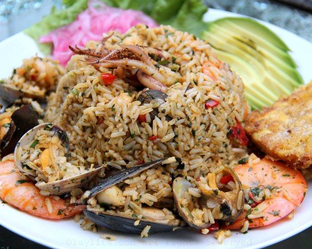 Seafood rice arroz con marizcos
