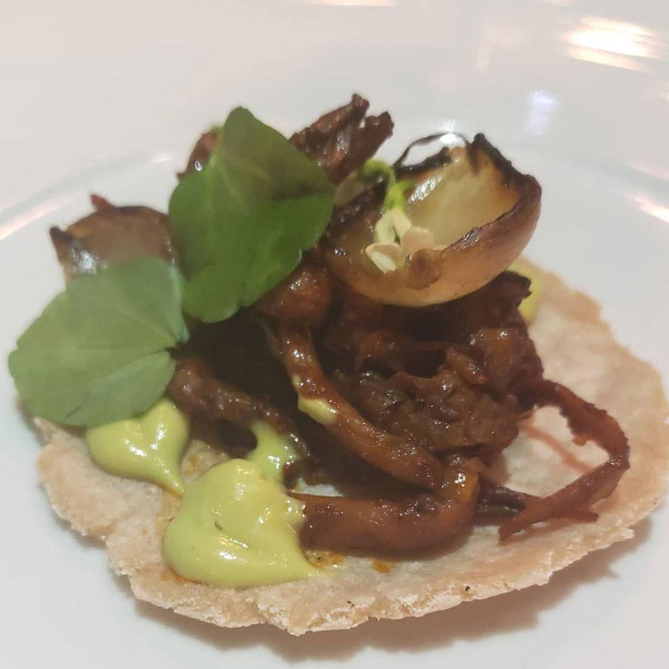 Mushroom Barbacoa on Yucca Tortilla