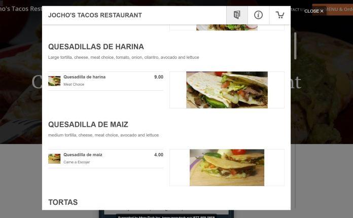 Jocho's Tacos - Quesadillas De Harina for $9.00 and Quesadilla De Maiz for $4.00