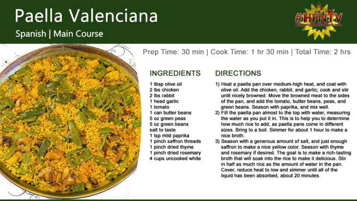 Paella Valenciana Recipe Card