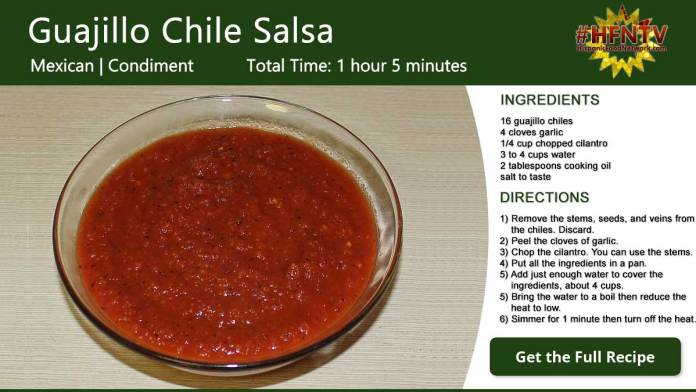 Guajillo Chile Salsa Recipe Card
