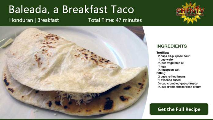 Baleada, a Breakfast Taco Recipe Card