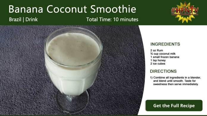Banana Coconut Smoothie Recipe Card