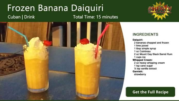 The World's Best Banana Daiquiri Recipe Card