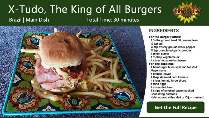 X-Tudo, The King of All Burgers Recipe Card