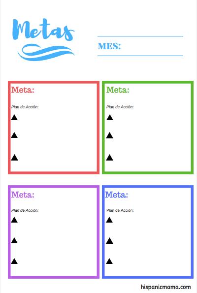 Setting Goals Bilingual Printable