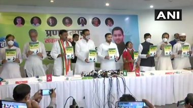 Bihar: Grand Alliance releases manifesto for upcoming assembly elections in Patna