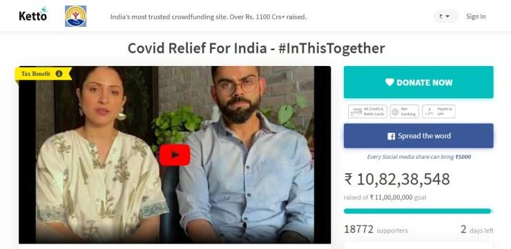 Anushka Sharma and Virat Kohli raised nearly Rs 11 crore for Corona patients