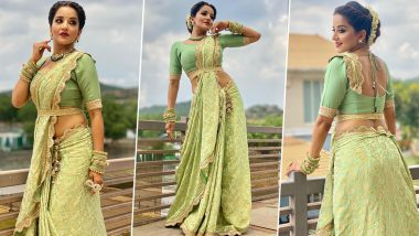 Monalisa showed beautiful Indian style wearing a green sari, everyone is surprised to see the traditional look