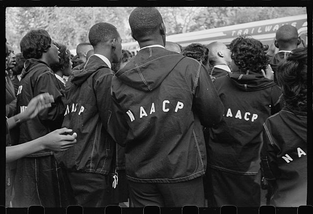 Students wear NAACP jackets to the March on Washington
