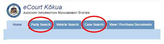 """Click on """"Party Search"""" tab or """"Case Search"""" tab."""