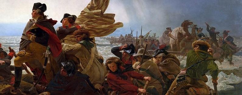 peinture célère montrant le général Washington et ses soldats traversant le fleuve Delaware