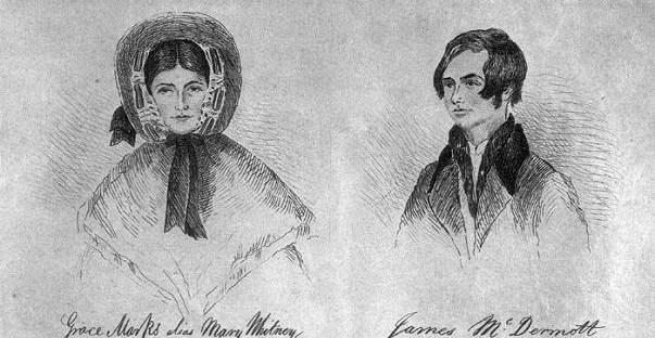 dessin en noir et blanc représentant Grace Marks et James McDermott
