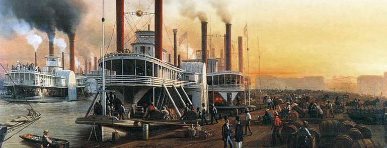 Hippolyte Sebron, Bateaux à vapeur géant, la Nouvelle-Orléans, 1853 (détail). Huile sur toile.