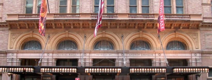 photo de la façade du bâtiment Carnegie Music Hall à New York