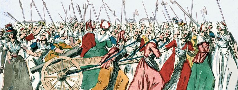Gravure représentant la marche des femmes sur Versailles pendant la Révolution française les 5 et 6 octobre 1789