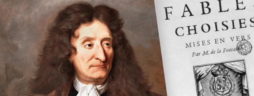 Montage avec un détail du portrait de Jean de la Fontaine peint par Hyacinthe Rigaud vers 1680 et une photo de la couverture d'un exemplaire des Fables de 1668