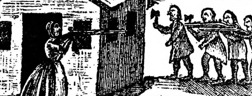 """Illustration de la page 140 du récit de Mary Rowlandson sur sa captivité (""""The narrative of the captivity and restoration of Mrs. Mary Rowlandson) imprimé en 1682."""