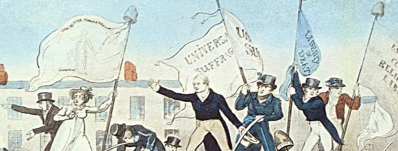Gravure de Richard Carlile représentant le massacre de Peterloo en 1819