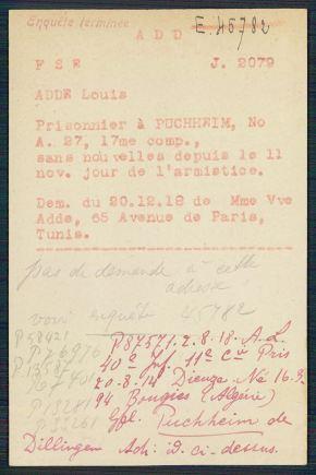Archives du CICR - Prisonniers de la première guerre mondiale - Louis Adde