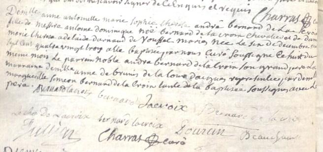 Baptême d'Anne-Antoinette Bernard De La Croix, fille de Messire Antoine-Dominique-Noé Bernard De La Croix, chevalier