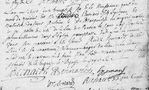 Baptême d'André Bernard, fils de Sr Antoine et de Margueritte Laugier
