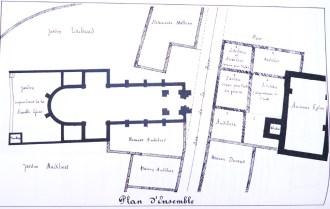 Emplacement (approximatif) des églises St-Martin et du Très-St-Cœur-de-Marie vers 1860 (Arch. municipales)