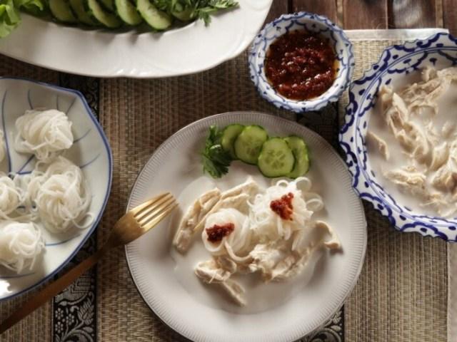 vermicelles de riz et poulet coco