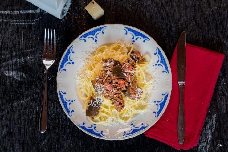 spaghettis aux aubergines