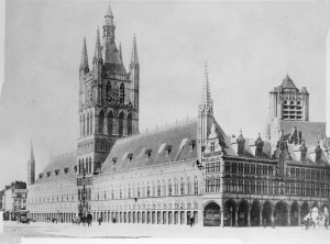Cloth Hall and Cathedral Ypres before the War. Credit : Canada Dept. of National Defence/Library and Archives Canada.