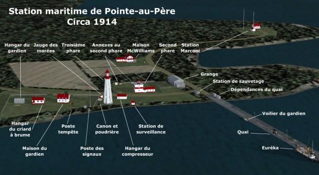 Modélisation de la station maritime de Pointe-au-Père vers 1914, par Jean-Pierre Fillion.