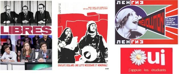 Affiches et images d'inspiration syndicale, maoïste, soviétique et indépendantiste.