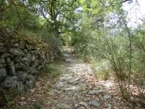 Route médiévale de Estagel à Prades par Ansignan et Sournia, pavée en granite. Section commune avec le chemin de Prats à Trévillach, le pavement suit ce dernier itinéraire.