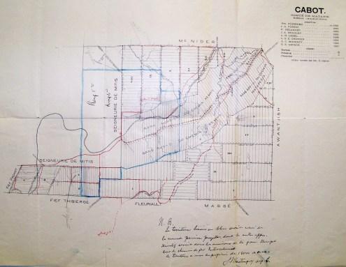 Carte de l'ingénieur J.N. Castonguay décrivant à monseigneur A-A. Blais les limites possibles d'une nouvelle paroisse dans le canton Cabot.