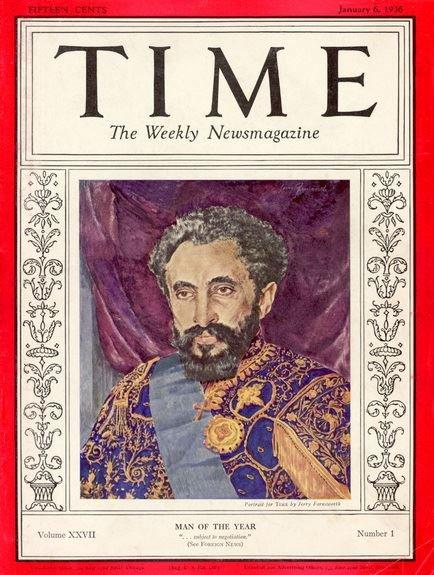Portada de la revista Time con el Hombre del año 1936, Haile Selassie.